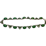 Vintage Czech Green Glass and Enamel Brass Necklace