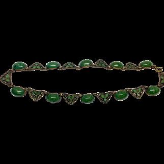 Vintage Czech Green Glass and Enamel Brass Necklace