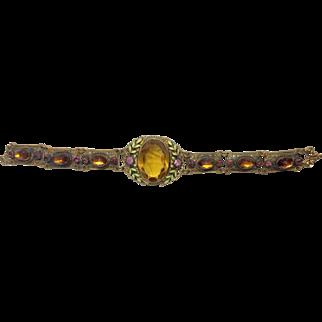 Art Deco Czech Gold Glass and Enamel Bracelet