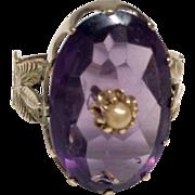 Antique Rose of Sharon 14K Gold Amethyst Ring