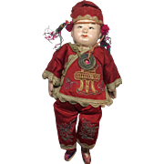 1900-1930s Composition Chinese Boy Doll in Silk Clothes
