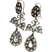 Vintage Chandelier Sterling and Cultured Freshwater Pearl Earrings