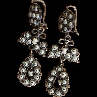 Vintage Chandelier Sterling and Cultured Freshwater Pearl Earrings