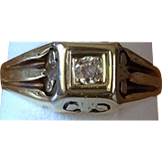Art Deco 1930s Man's Diamond and 14K-18K Ring