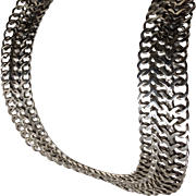 Vintage TAXCO Sterling Silver Wide Mesh Chain Choker