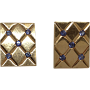 ESTATE: 14K Gold and Sapphire Cufflinks