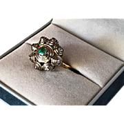 Antique Georgian Style Emerald and Diamond 14K & 18K Gold Ring