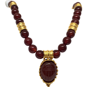 Vintage Carnelian and Gold Necklace