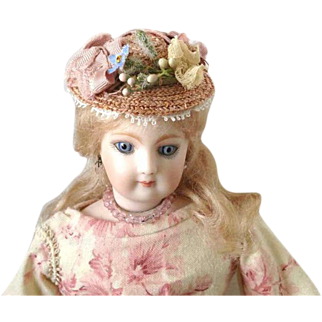 Tiny French Fashion or China Hat ~ Vintage Straw, Trims ~ Artist Made by Zofia Rose