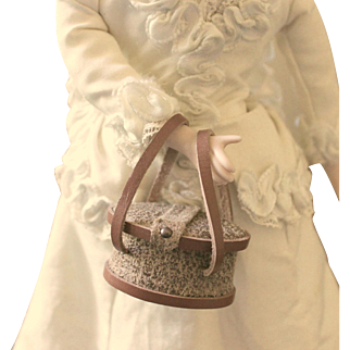 """French Fashion ~ Tiny Necessaire ~ Beige Tones ~ Artist Made ~ Dolls 10"""" - 13"""""""