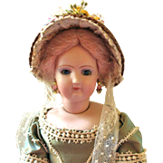"""French Fashion or China ~ Straw Bonnet ~ 5-1/2"""" - 6"""" Head ~ Artist Made"""