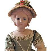 """French Fashion or China ~ Bonnet with Straw Trim ~ 5-1/2"""" - 6"""" Head ~ Artist Made"""