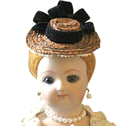 """French Fashion or Simon & Halbig 1160 ~ Tiny Hat or Bonnet ~ Rare Straw ~ Artist Made ~ for 4-1/2""""- 5"""" Head"""