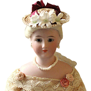 """French Fashion or Simon & Halbig 1160 ~ Vintage Straw ~ Tiny Hat ~ Artist Made ~ for 4-1/2""""- 5-1/2"""" Head"""
