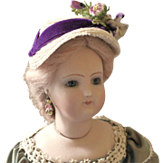 """French Fashion or China ~ Hat, Bonnet ~ Vintage Straw, Purple Trims ~ 5-1/2"""" - 6"""" Head ~ Artist Made"""