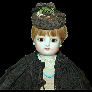 "French Fashion Toque Bonnet w/Chin Strap~ Rare Antique Straw Trim ~ for 7-1/2"" to 9"" Head ~ Artist Made"