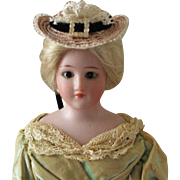 French Fashion ~ Simon & Halbig 1160 ~ Tiny Hat w/ Black Velvet Ribbons ~ Artist Made