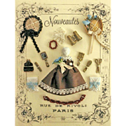 French Fashion Accessory ~ Artist Made ~ Presentation Display Card ~ Frozen Charlotte