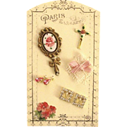 French Fashion Accessory ~ Artist Made ~ Small Presentation Display Card ~ Dresser items in Pink