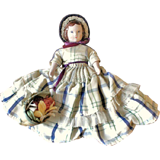 Ruth Gibbs Godey's Little Lady Doll ~ All Original ~ September Play Friend ~ with Label and Flower Basket