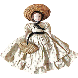 Ruth Gibbs Godey's Little Lady Doll ~ All Original ~ July Play Friend ~ with Label, Straw Hat & Purse