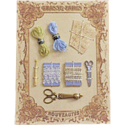 French Fashion Accessory ~ Small Presentation Display Card ~ Artist Made ~ Sewing & Crocheting