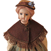 "French Fashion or China Doll Hat ~ Artist Made ~ for 5-1/2"" - 6"" Head"