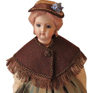 """French Fashion or China Doll Hat ~ Artist Made ~ for 5-1/2"""" - 6"""" Head"""