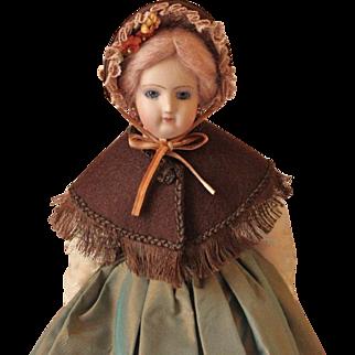 "French Fashion Doll Fanchon Bonnet ~ Dark Brown Straw ~ Artist Made ~ 5-1/2"" - 6"" Head"