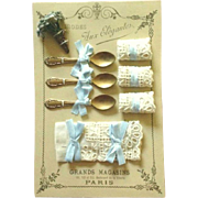 French Fashion Accessory ~ Artist Made ~ Presentation Display Card ~ Luncheon Set