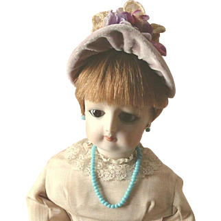 """French Fashion ~ Wired Bebe Straw Hat or Bonnet ~ 8"""" to 9"""" Head ~ Artist Made"""