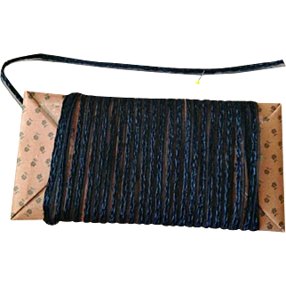 Vintage Millinery Straw with Horsehair Trim ~ Narrow ~ Navy Blue ~ Small Doll Hats