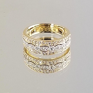 Fancy 1920's Diamond Fashion ring / 14kt Two Tone