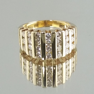 Men's Diamond Band / 14k Yellow Gold Vintage Band