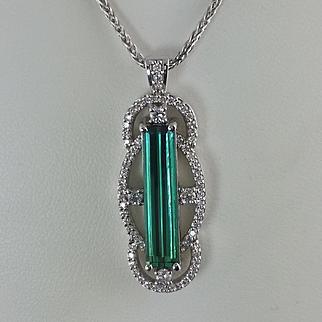Green Tourmaline and Diamond Pendant / 14k White Gold