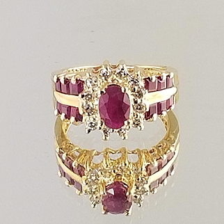 Ruby and Diamond Ring / 14k Yellow Gold