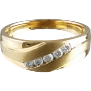 Men's Vintage Diamond Wedding Band / 14k Yellow Gold