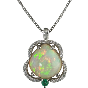 Opal, Diamond and Emerald Pendant / 14k White Gold