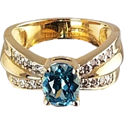 Blue Zircon and Diamond Ring / 14k Yellow Gold