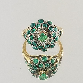 Emerald Cluster Ring / 14k Yellow Gold