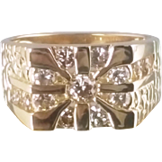 Mens Diamond Fashion Ring / 14k Yellow Gold Vintage Circa 1980's