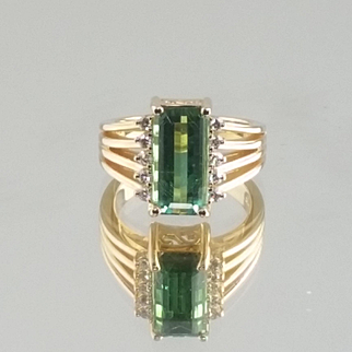 Green Tourmaline and Diamond 14k Ring