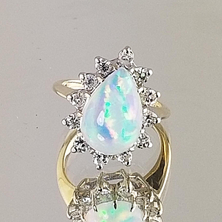 Opal and Diamond Ring / 14k Two Tone