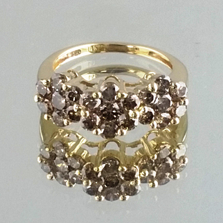 Champagne Colored Diamond Ring / 14k Yellow Gold Vintage Ring