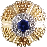 Sapphire and Diamond Ring / 14k Yellow and White Gold