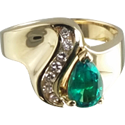 Lab Created Emerald and Natural Diamond Ring / 14k Yellow Gold