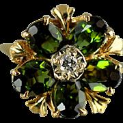 Green Tourmaline Ring / 14k Yellow Gold Vintage Fashion Ring