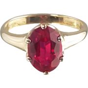 Created Ruby Ring / 14k Yellow Gold