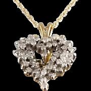 Diamond Heart Pendant / 14k Yellow and White Gold Vintage Pendant