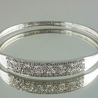Diamond Bangle Braclet / 10k White Gold Vintage 1990's
